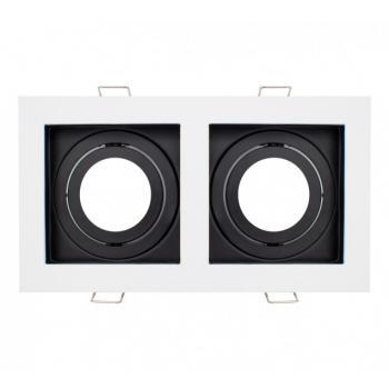 Aro Doble Basculante Cuadrado Blanco y Negro Para Gu10/mr16